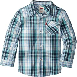 Long Sleeve One-Pocket Plaid Shirt (Little Kids)