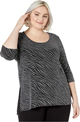 Plus Size 3/4 Sleeve Side-Slit Top