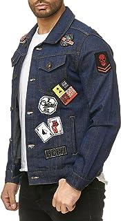 Redbridge Men's Denim Jeans Jacket Regular Fit Patches Destroyed Biker Transition Jackets