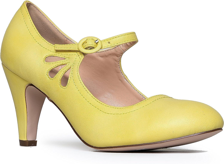 ZooShoo ZooShoo ZooShoo Kitten klackar Mary Jane Pump Beundable Vintage skor - Unique Round Toe Design med en anpassningsbar Strap,Lemon,6.5 B (M) USA  rättvisa priser