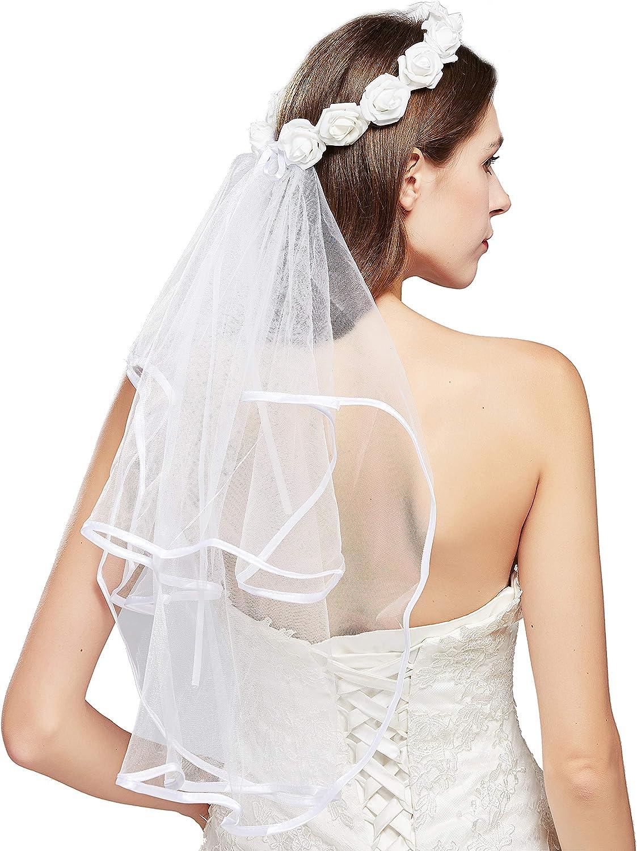 BABEYOND Bachelorette Dedication Party Bargain Veil Boho S Bridal Flower Crown