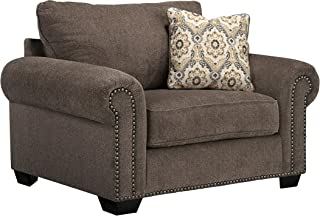 Benchcraft - Emelen Contemporary Chair and a Half - Accent Pillow Included - Alloy Gray