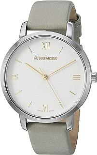 Wenger Women's Metropolitan Donnissima Stainless Steel Swiss-Quartz Leather Strap, Grey, 17.2 Casual Watch (Model: 01.1731.102)