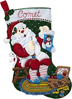 PLAID Enterprises 89234E Felt Stocking KIT, Stitching Santa