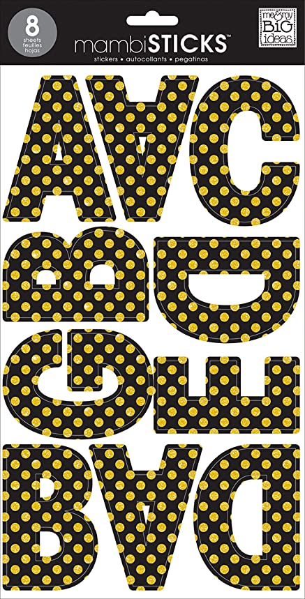 me & my BIG ideas Large Alpha Sticker Black with Gold Glitter Dots