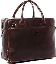 SID & VAIN Laptoptasche echt Leder Ryan XXL groß Businesstasche Umhängetasche Aktentasche Laptopfach 15.6 Ledertasche Unisex braun