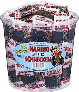 Haribo Licorice Snails 100 Mini Pack of 1 x 1.27 kg Bag)