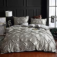 "SMNJF Pinch Pleat Zip Duvet Cover-Satin Bedding&Comforter Duvet Cover 3 Piece Set-with Zipper Closure and 2 Pillow Shams King(102""x90"") Grey"