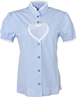 Ramona Lippert Damen Dirndl Bluse Helen Blau Weiß kariert mit Herz Ausschnitt - Trachtenbluse - Blusen für Trachten z.B. zum Oktoberfest
