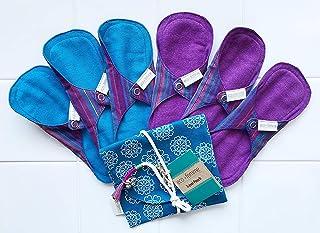 南インド「Eco Femme」布ナプキン (肌面色付き・防水あり&なし)軽い日用6枚+ポーチ