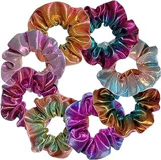 Shiny Metallic Scrunchies, BETITETO Women Girls Mermaid Hair Scrunchie Elastics Ponytail Holder for Gym Dance Party Club, Set of 8 (Multicolored-1)