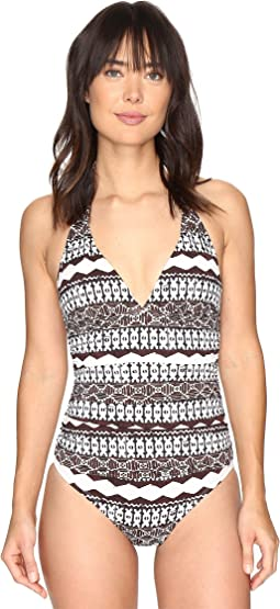 LAUREN Ralph Lauren - Primitive Stripe Halter Mio One-Piece