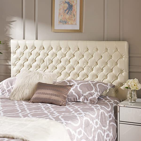 Christopher Knight Home 238887 Deal Furniture Wyoming Queen Full Button Tufted Fabric Headboard Ivory