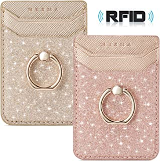 Phone Card Holder RFID Blocking Wallet Credit Cell Case Stick-on Adhesive Card Holder for Back of Phone Compatible with Most of Smartphones (iPhone/Android/Samsung Galaxy) Rosegold