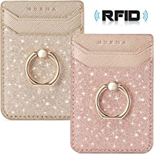 BIAJIYA Phone Card Holder RFID Wallet Credit Adhesive Cell Case Stick-on Card Holder for Back of Phone for Most of Smartphones (iPhone/Android/Samsung Galaxy) Rosegold