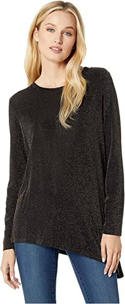 Long Sleeve Asymmetrical Metallic Top
