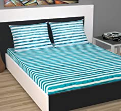 Divine Casa Evan 144 TC Cotton Double Bedsheet with 2 Pillow Covers - Striped, Turquoise and White