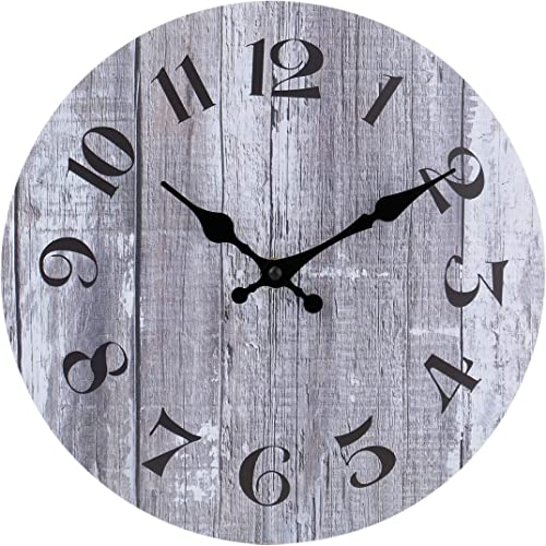 high quality Silent Non-Ticking Wooden Decorative Wall Clock Quality Quartz Battery Operated Wall Clocks Vintage Rustic Country Tuscan Style Gray Wooden Home Decor wholesale Round Wall Clock (10 wholesale Inch ) outlet online sale