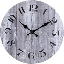 Silent Non-Ticking Wooden Decorative Round Wall Clock Quality Quartz Battery Operated Wall Clocks Vintage Rustic Country Tuscan Style Gray Wooden Home Decor Round Wall Clock(10 Inch,Arabic Numerals)