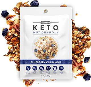 Low Karb - Keto Single Serve Nut Granola Healthy Breakfast Cereal (12 Pack) Low Carb Snacks & Food - 3g Net Carbs - On The Go Snack - Almonds, Pecans, Coconut, and more (12 x 1.2 oz) (Blueberry)