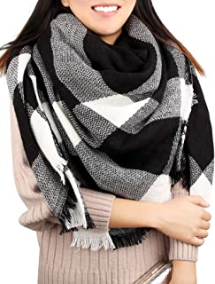 Winter Blanket Scarf Women Warm Soft Tartan Large Square Shawl Wrap Oversize