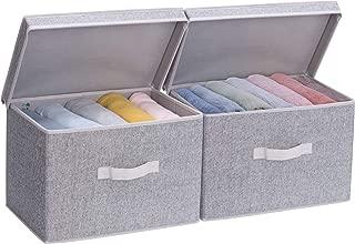 Storage Bin with Lid, Large Storage Baskets with lid, Decorative Storage Boxes with Lids, Gray, 2-Pack