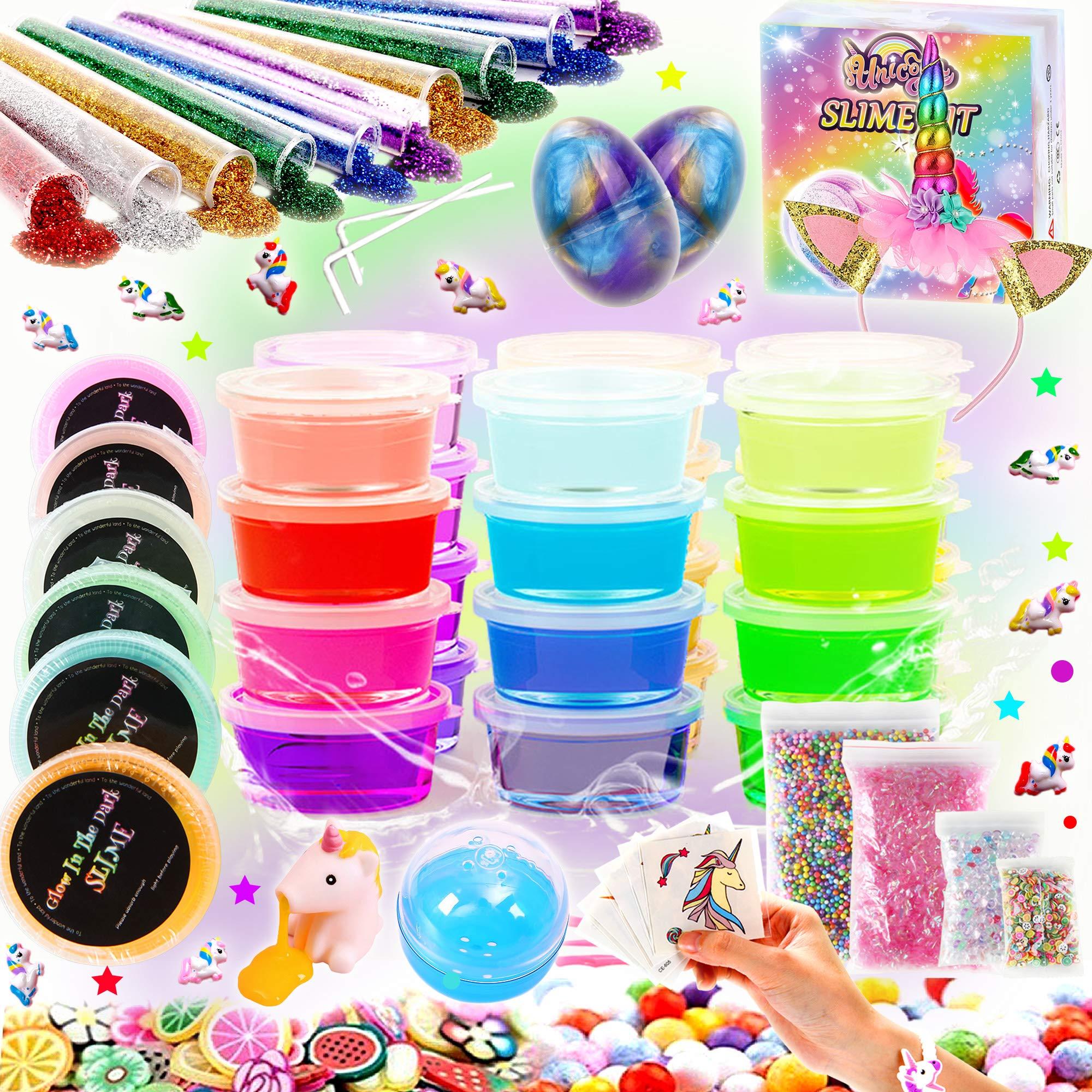 Kit de Slime Kit Brillan en la Oscuridad - 20 Colores Kit de Slime Esponjoso con Unicornio, Purpurina, Nube, Espuma y Más Juguete para Niñas: Amazon.es: Juguetes y juegos