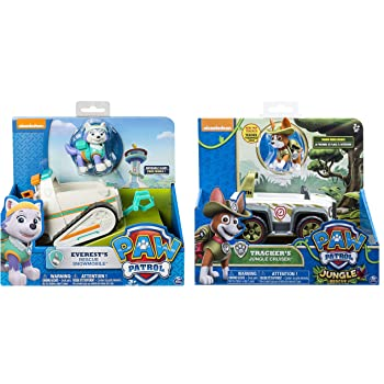 Paw Patrol Everest's Rescue Snowmobile & Paw Patrol, Jungle Rescue, Tracker's Jungle Cruiser, vehículo y Figura Incluye bolígrafo Blizy