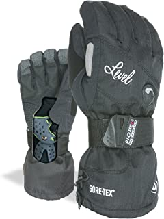 Level Half Pipe GTX Women's Snowboard Protective Gloves with GoreTex, BioMex Wrist Guards, ThermoPlus Liner (Black, Medium (8.0in))