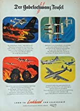 Lockheed Aircraft, 40's Print ad. full page Color Illustration (war planes) Authentic original Vintage 1945 the New Yorker Magazine Print Art