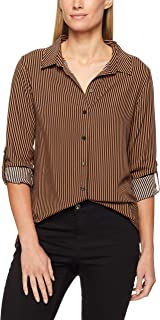French Connection Women's Stripe CORE Shirt, Tan/Black