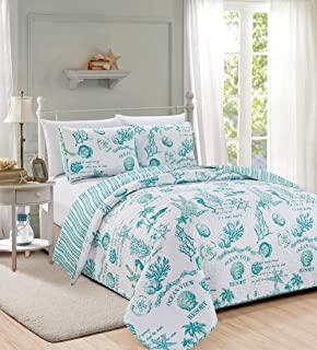 Great Bay Home 3 Piece Quilt Set with Shams. Soft All-Season Microfiber Bedspread Featuring Attractive Seascape Images. Machine Washable. Catalina Collection (King, Aqua)