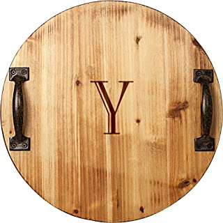 Cathy's Concepts Personalized Rustic Wood Tray with Metal Handles, Letter Y