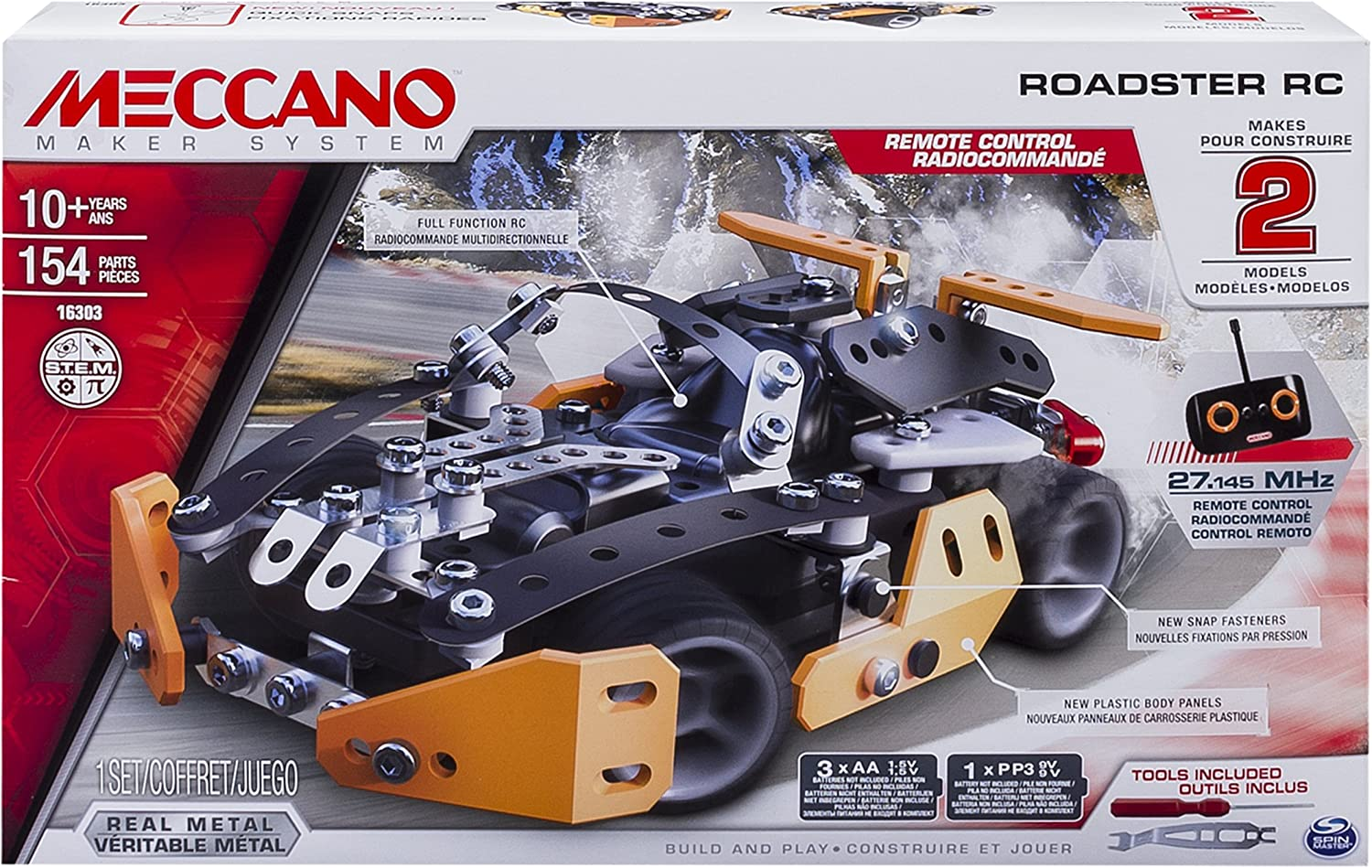 Meccano Erector Roadster RC Model Building Set, 154 Pieces, for Ages 10 and up, STEM Construction Education Toy
