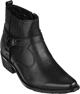 CALTO Men's Invisible Height Increasing Elevator Shoes - Black Premium Leather Cowboy Zipper Boots - 3.6 Inches Taller - T8112