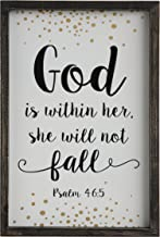 Creative Co-op God is Within her, she Will not Fall Black Framed Wall Décor, White