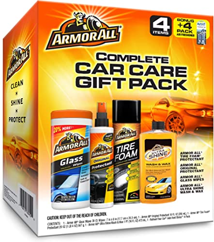 Armor All Car Wash and Cleaner Kit (4 Items) - 2pc Glass Wipes & Protectant with Wax & Wash Concentrate and Tire Shin...