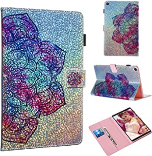 Folice Case for Samsung Galaxy Tab A 10.1 Inch Tablet 2019(SM-T510/T515), Glitter Bling Kickstand Leather with Magnetic Closure Cover (Datura Flower)