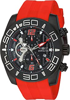Men's Pro Diver Stainless Steel Quartz Watch with Silicone Strap, red, 25 (Model: 22810)