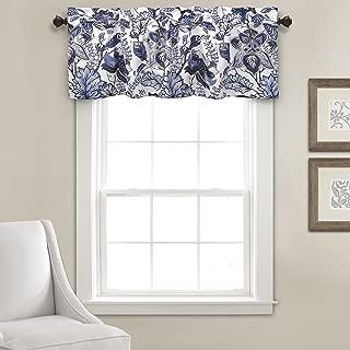 "Lush Decor Cynthia Jacobean Valance Floral Print Single Curtain, 18"" L, Blue"