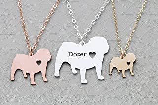 English Bulldog Necklace - IBD - British Leavitt - Personalize Name Date - Pendant Size Options - 935 Sterling Silver 14K Rose Gold Filled