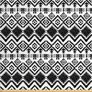 Ambesonne Modern Fabric by The Yard, Geometric Design with Modern Hippie Zig Zags Triangles Squares Print, Decorative Fabric for Upholstery and Home Accents, 2 Yards, White Black