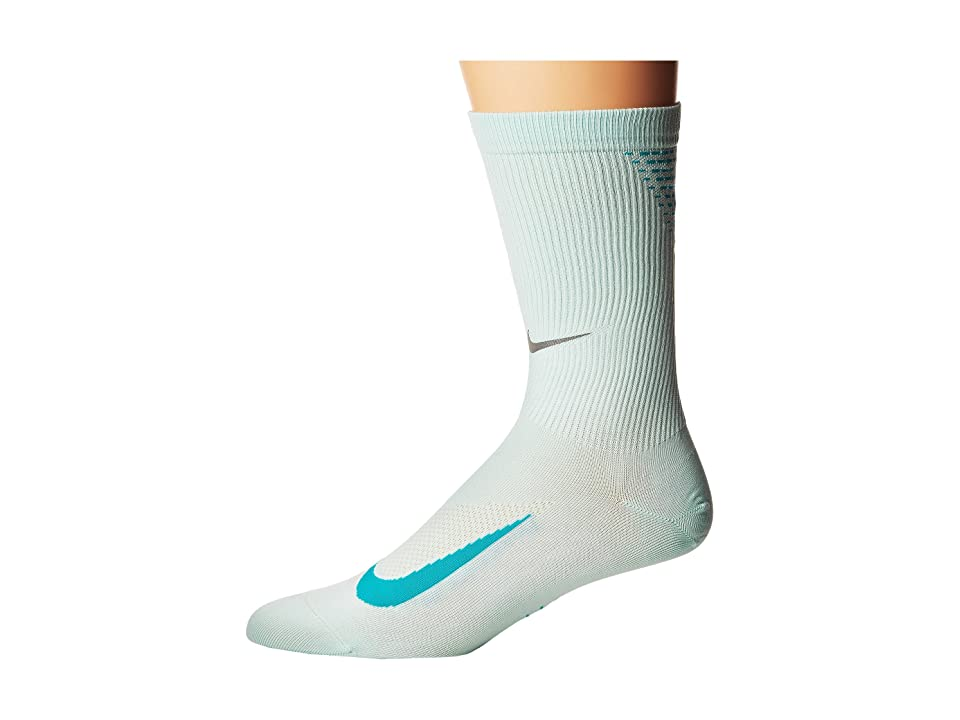 Nike Elite Run Lightweight 2.0 Crew (Igloo/Turbo Green) Crew Cut Socks Shoes