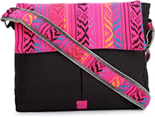 The House of Tara – Black and Pink Crossbody Canvas Messenger Sling Bag with Handloom Fabric Flap for Women