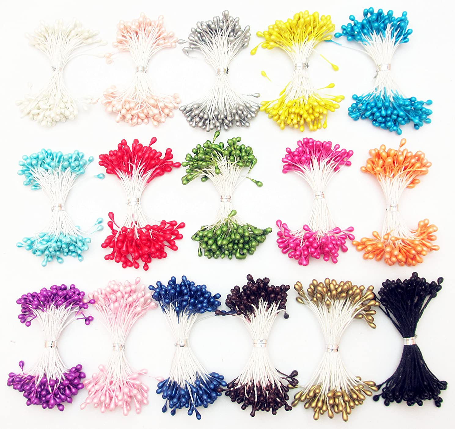 Dandan DIY 1600pcs Multi-Colors Flower Stamen with 3mm Pearl for Sewing Home Wedding Decor Craft Making Diy Supply (16 Colors)
