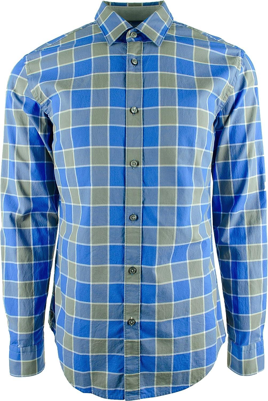 Hugo Boss Men's Ronni Plaid Slim Fit Long Sleeve Shirt