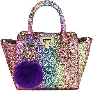 CMK Trendy Kids Toddlers Purse for Little Girls Rainbow Glitter Crossbody Handbag
