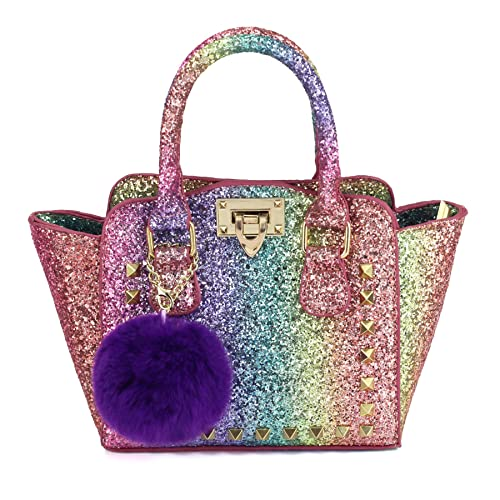 2b0ba04d4a CMK Trendy Kids Toddlers Purse for Little Girls Rainbow Glitter Crossbody  Handbag