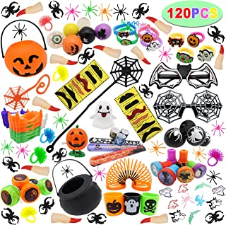 120 PCs Halloween Assortment Party Favors Toys for Halloween Trick or Treat Goody Bags Prizes, Classroom Reward, Miniature...