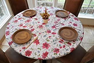 Covers For The Home Deluxe Elastic Edged Flannel Backed Vinyl Fitted Table Cover - Watercolor Floral Pattern - Small Round - Fits Tables up to 44